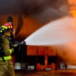 Fire fighters battling a blaze